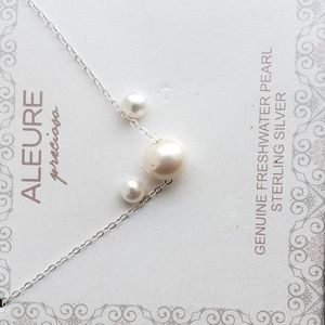 Jewelry - 925 silver genuine freshwater pearl necklace earri